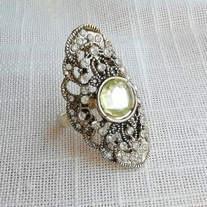 Vintage costume ring gold yellow stone SZ 8